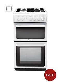 hotpoint-hag51p-50cm-twin-cavity-gas-cooker-with-fsdnbsp--white