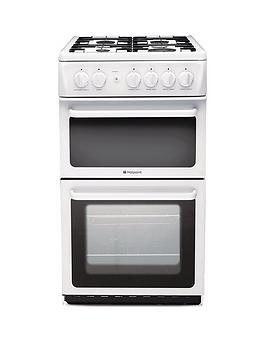 hotpoint-newstylenbsphag51p-50cm-twin-cavity-gas-cooker-with-fsdnbsp--white