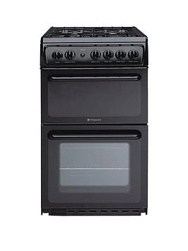 Hotpoint Hag51K 50Cm Twin Cavity Gas Cooker With Fsd  Black