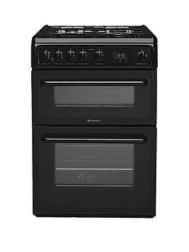 Hotpoint Hag60K 60Cm Double Oven Gas Cooker With Fsd  Black