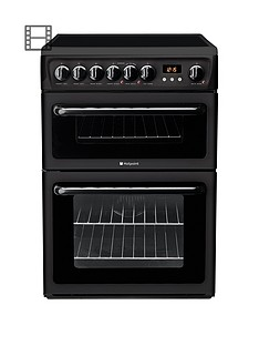 hotpoint-newstylenbsphae60ks-60cmnbspdouble-oven-electric-cooker-with-ceramic-hob-black