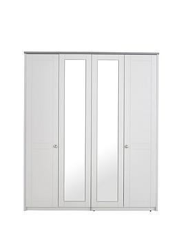 Very  Alderley Part Assembled 4 Door Mirrored Wardrobe