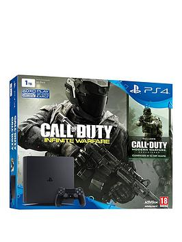 playstation-4-1tbnbspblack-console-with-call-of-duty-infinite-warfare-and-modern-warfare-remasterednbspwith-optional-12-months-psn-andor-extra-controller