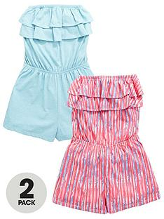 v-by-very-girlsnbspwashed-stripe-ruffle-playsuitsnbsp2-pack
