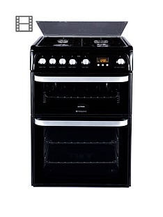 hotpoint-ultima-hug61k-60cm-double-oven-gas-cooker-with-fsdnbsp--black