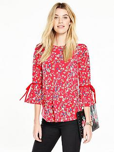 v-by-very-tie-ruffle-sleeve-top