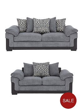 2a661a56732 Phoenix Fabric and Faux Leather 3 Seater + 2 Seater Sofa Set (Buy and  SAVE!)