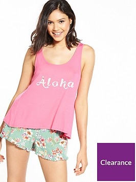 v-by-very-aloha-short-and-swing-top-pyjama-set