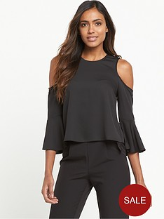miss-selfridge-cold-shoulder-ruffle-top