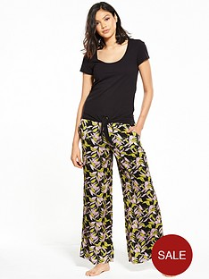 v-by-very-tropical-glamour-tie-front-top-pyjama-set