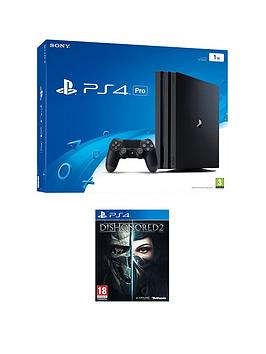 playstation-4-pro-console-with-dishonored-2-plus-optional-extra-controller-andor-12-months-playstation-network