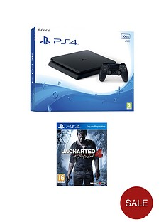 playstation-4-slim-500gb-black-console-with-uncharted-4-a-thiefs-end-plus-optional-extra-controller-andor-12-months-playstation-network