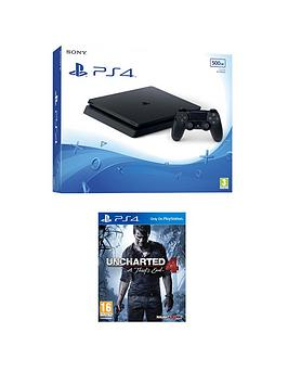 Playstation 4 Slim 500Gb Black Console With Uncharted 4  A ThiefS End Plus Optional Extra Controller AndOr 12 Months Playstation Network  Ps4 500Gb Black Slim Console With Uncharted 4  A ThiefS