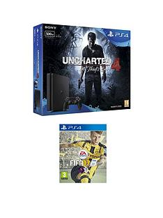 playstation-4-slim-500gb-black-console-with-uncharted-4-a-thiefs-end-and-fifa-17-plus-optional-extra-controller-andor-12-months-playstation-network