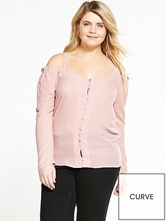 alice-you-cold-shoulder-button-up-blouse-pink