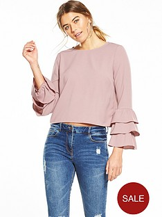 glamorous-long-sleeve-frill-blouse-pink
