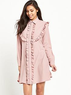 glamorous-frill-detail-shirt-dress-blush