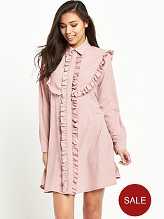 glamorous-frill-detail-shirt-dress-blush