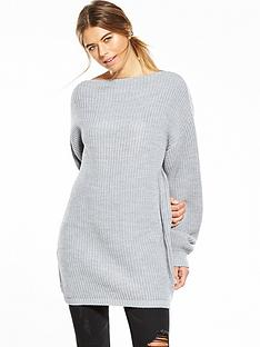 glamorous-oversized-chunky-knit-dress-grey