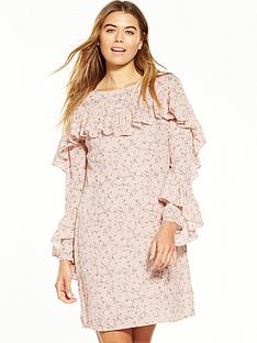 glamorous-long-sleeve-frill-printed-dress-floral
