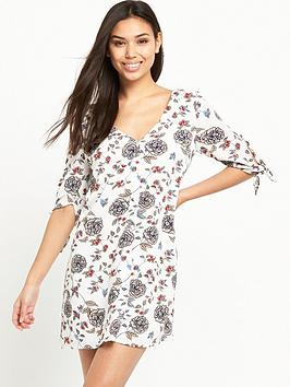Glamorous Button Front Printed Swing Dress