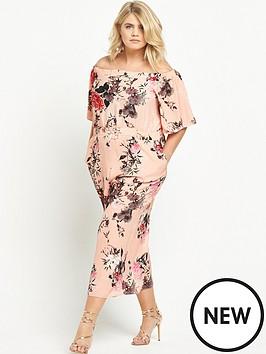ri-plus-floral-bardot-jumpsuit-pink