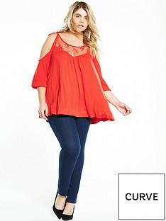 v-by-very-curve-curve-cold-shoulder-tie-shoulder-top-orange-red