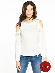 v-by-very-chiffon-frill-cold-shoulder-top