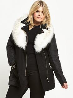 ri-plus-padded-faux-fur-collar-coat-black