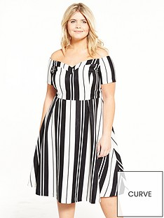 lovedrobe-monochrome-stripenbspbardot-dress