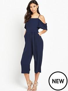 ax-paris-cold-shoulder-tie-waist-culotte-jumpsuit-navy