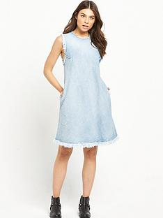 replay-denim-fray-hem-dress