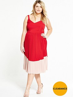 lost-ink-curve-colour-block-dress-with-pleated-skirt