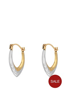 love-gold-9-carat-gold-2-tone-diamond-cut-teardrop-creole-earrings