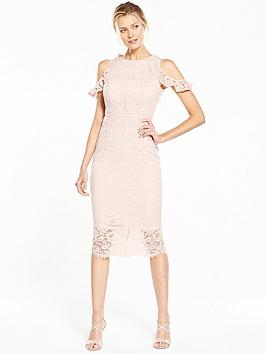 V By Very Cold Shoulder Lace Pencil Dress