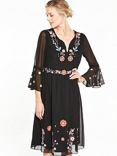 v-by-very-embroidered-fluted-sleeve-tea-dress
