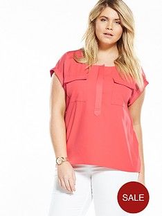 v-by-very-curve-curve-double-pocket-shell-top-orange-red