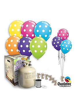 Polka Dot Helium Canister &Amp Balloon Kit