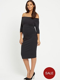 rochelle-humes-maternity-bodycon-dress-ndash-black