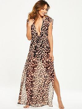 Myleene Klass Leopard Print Sheer Beach Maxi Dress