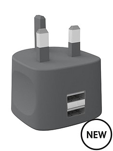 kit-fresh-dual-mains-charger-for-all-iphoneipadtabletsmartphone-with-two-usb-charging-ports-grey