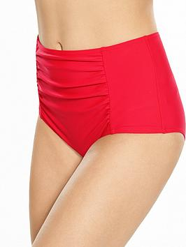V By Very Controlwear Ruched Detail High Waist Bikini Brief
