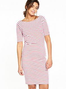 hilfiger-denim-sleeved-knit-stripe-dress-redwhite