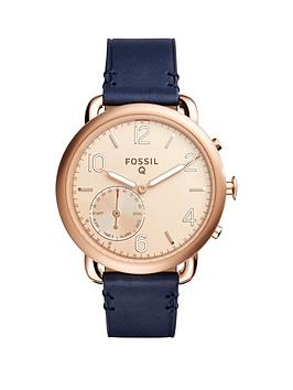 Fossil Q Tailor Rose Tone Dial Leather Strap Ladies Hybrid Smart Watch