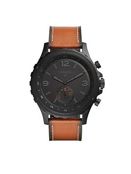 Fossil Fossil Q Nate Black Dial Tan Leather Strap Mens Hybrid Smart Watch