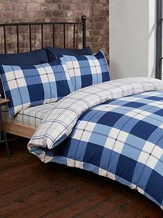 cascade-home-brushed-100-cotton-check-duvet-cover-set