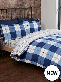 cascade-home-brushed-cotton-check-duvet-cover-set