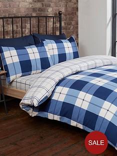 cascade-home-brushed-cotton-check-duvet-cover-set