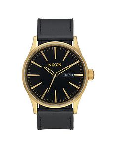 nixon-sentry-black-date-dial-gold-tone-case-black-leather-strap-mens-watch