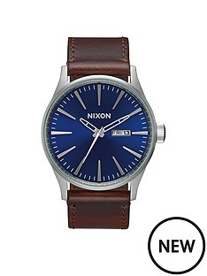nixon-sentry-blue-date-dial-silver-tone-case-brown-leather-strap-mens-watch